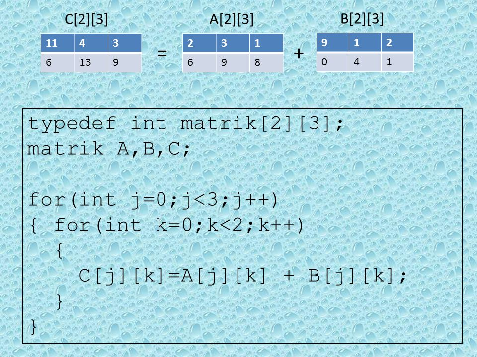 typedef int matrik[2][3]; matrik A,B,C; for(int j=0;j<3;j++)
